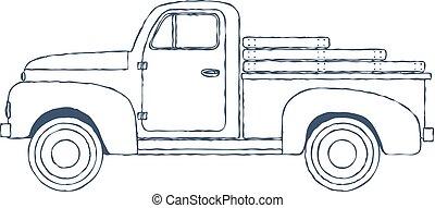 experiência., branca, vetorial, caminhão, pickup, retro, isolado, vindima