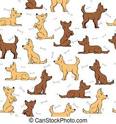 experiência., cão, seamless, ossos, padrão, branca