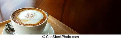 experiência., cappuccino, bandeira, xícara café