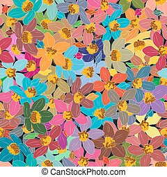 experiência., flor, seamless, coloridos, elemento