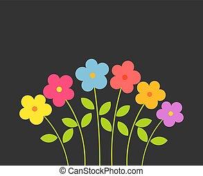 experiência., flores, pretas, coloridos