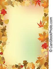 experiência., folhas, quadro, copyspace, outono