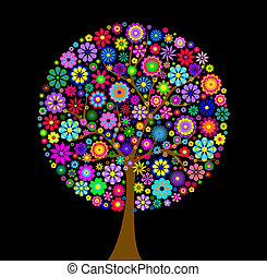 experiência preta, árvore, coloridos, flor