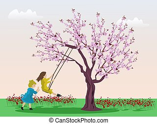 experiência., verde, árvore cereja, meninas, tocando, cor-de-rosa, lá, dois, balanço, campo céu, sob