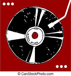 experiência., vermelho, disco vinil