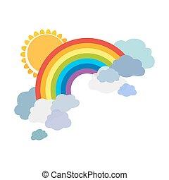 experiência., vetorial, nuvens, isolado, caricatura, branca, colorido, sun., ilustração, arco-íris