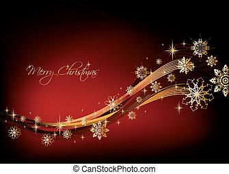 experiência., vetorial, snowflakes, ouro, natal