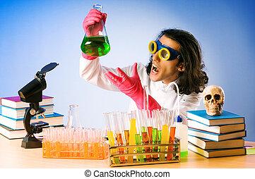 experimentar, soluções, laboratório, químico