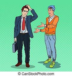 explicando, arte, jovem, estouro, pensativo, vetorial, businessman., ilustração, homem, algo