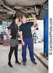 explicando, mecânico carro, reparar