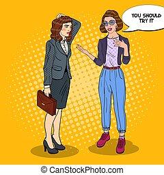 explicando, mulher, arte, businesswoman., jovem, ilustração, vetorial, estouro, algo