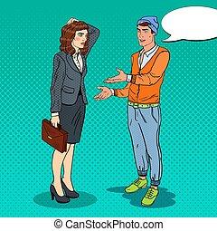explicando, seu, arte, businesswoman., idéia, estouro, vetorial, ilustração, homem novo