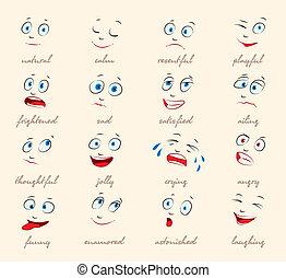 expressão, emotions., facial, caricatura