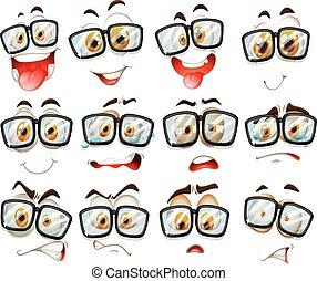expressão, facial, óculos