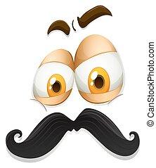 expressão, facial, bigode