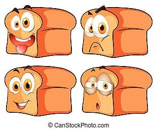 expressão, facial, pão