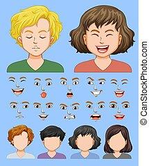 expressão, jogo, macho, facial, femininas