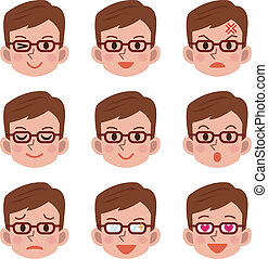 expressão, macho, facial