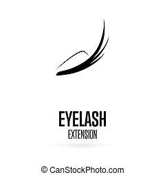 extensão, cílio, experiência preta, logotipo, branca