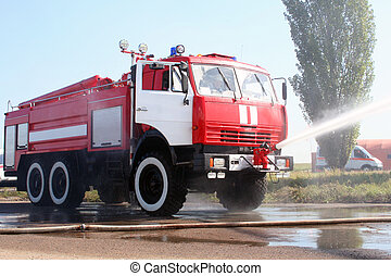 extinguishes, fogo, avião, caminhão, lit-up-acima