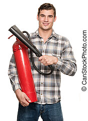 extintor, homem
