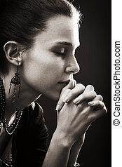 fé, mulher, -, oração, religião