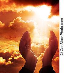 fé, -, oração, céu, conceito