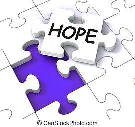 fé, quebra-cabeça, mostrando, esperança, orações