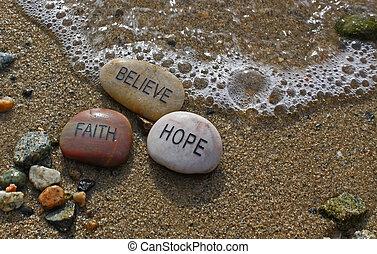 fé, rocks;, esperança, acreditar