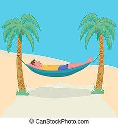 férias, anexado, preguiçoso, liberdade, palma, resort., freelance., rede, homem, downshifting, árvores., tropicais, mentindo