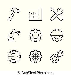 fabricando, esboço, ícones