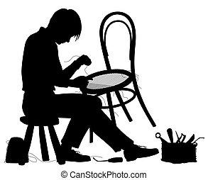 fabricante, cadeira, silueta