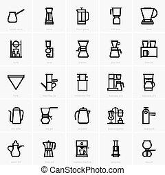 fabricante café, ícones