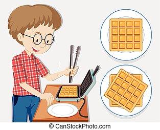 fabricante, homem, waffle, fazer