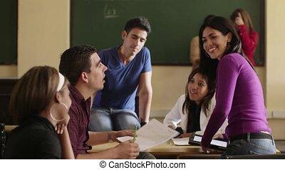 faculdade, amigos, grupo, escola