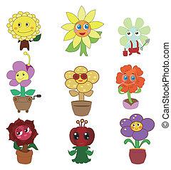 fada, flor, jogo, caricatura, ícone