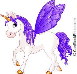 fada, rabo, cavalo, violeta