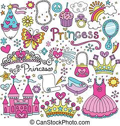 fairytale, vetorial, tiara, jogo, princesa