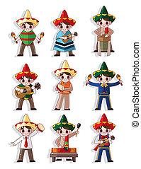 faixa, música, ícone, jogo, caricatura, mexicano
