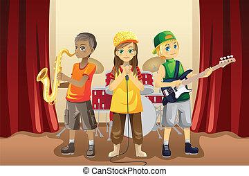 faixa, pequeno, crianças, música