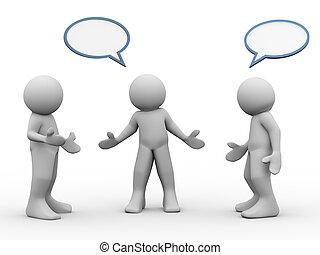 falando, 3d, pessoas