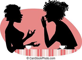 falando, duas mulheres