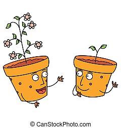 falando, flor, feliz, potes