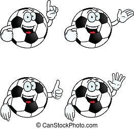 falando, futebol, jogo, caricatura