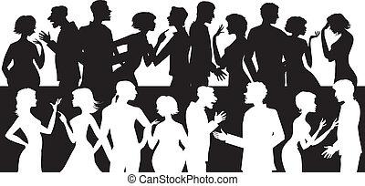 falando, grupo, pessoas
