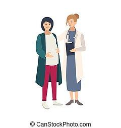 falando, junto, ficar, saudável, doutor, coloridos, gravidez, vetorial, style., ilustração, grávida, parteira, médico, caricatura, apartamento, mulher, health., ou, a., femininas, alegre, reprodutivo