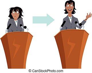 falando, público, treinamento