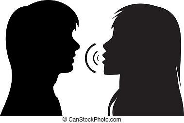 falando, silhuetas, mulheres, dois, jovem