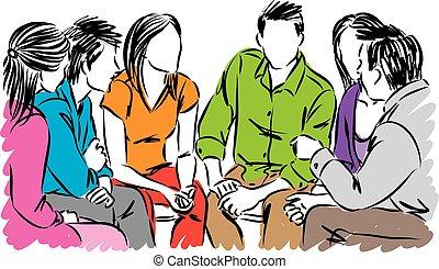 falando, vetorial, grupo, ilustração, pessoas