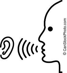 falar, símbolo., escutar